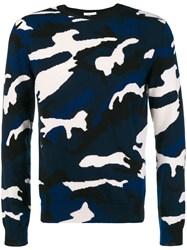 Valentino Camouflage Fitted Sweater Blue