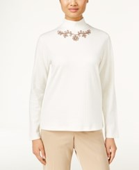 Alfred Dunner Embroidered Mock Neck Top Only At Macy's Ivory