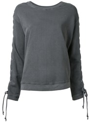 Rta Lace Up Sleeves Top Grey