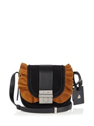 Lanvin Lala Ruffled Suede Cross Body Bag Black Tan