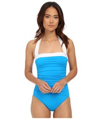Lauren Ralph Lauren Bel Aire Shirred Bandeau Mio Slimming Fit W Soft Cup Turquoise Women's Swimsuits One Piece Blue
