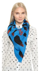 Kenzo Bamboo Leaves Scarf Turquoise
