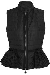 Moncler Valensole Broderie Anglaise Trimmed Quilted Cotton Down Gilet Black