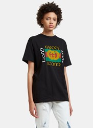Gucci Faded Logo Tiger Embroidered T Shirt Black