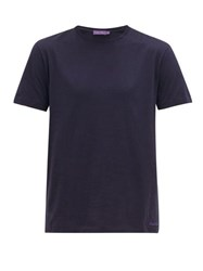 Ralph Lauren Purple Label Crew Neck Cotton Lisle Jersey T Shirt Navy