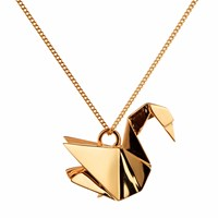 Origami Jewellery Swan Necklace Gold