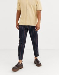 Topman Smart Joggers In Navy And Red Stripe