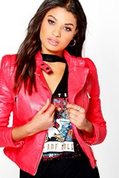 Boohoo Quilted Sleeve Faux Leather Biker Jacket Red