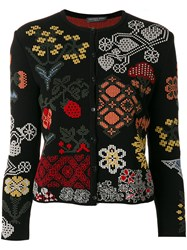 Alexander Mcqueen Floral Patch Cardigan Women Silk Polyester Viscose S Black