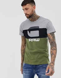 G Star Graphic Colour Block T Shirt In Green