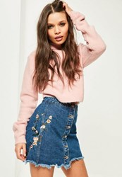 Missguided Blue Embroidered A Line Skirt