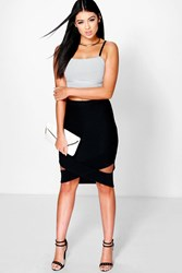 Boohoo Origami Hem Pencil Skirt Black