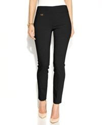 Alfani Petite Pants Tummy Control Skinny Pull On Ebony Black