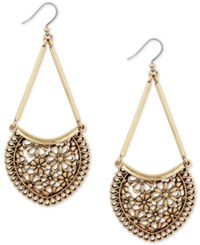 Lucky Brand Gold Tone Flower And Lace Chandelier Earrings
