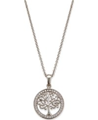 Giani Bernini Cubic Zirconia Tree Disc Pendant Necklace In Sterling Silver