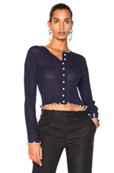 3.1 Phillip Lim Lightweight Rib Cropped Cardigan In Blue