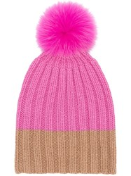 Danielapi Pompom Beanie Pink And Purple