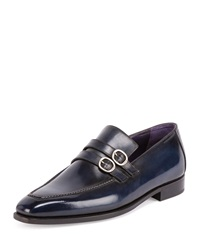 Berluti Andy Double Monk Leather Loafer Deep Sea