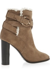Burberry Shearling Lined Suede Ankle Boots