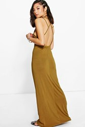 Boohoo Ruby Strappy Back Maxi Dress Olive