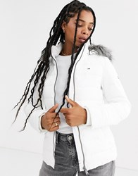 Tommy Jeans Recycled Padded Jacket With Faux Fur Hood White