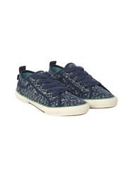 White Stuff Darcy Lace Up Printed Trainer Navy