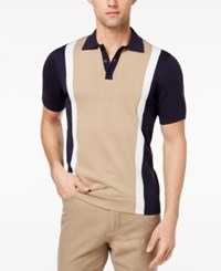 Ryan Seacrest Distinction Men's Slim Fit Colorblock Sweater Polo Created For Macy's Twill White Navy