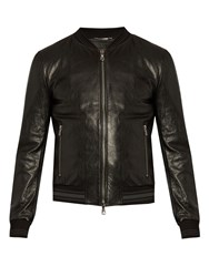 Dolce And Gabbana Slim Fit Leather Bomber Jacket Black