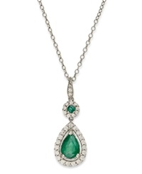 Macy's 14K White Gold Necklace Emerald 1 Ct. T.W. And Diamond 1 3 Ct. T.W. Pear Drop Pendant Green