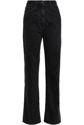 Mcq By Alexander Mcqueen Woman Leopard Print High Rise Straight Leg Jeans Black