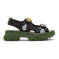 Gucci Black And Green Aguru Chunky Sandals