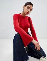 Boohoo Wide Sleeve Cropped Knit Red