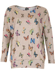 Izabel London Knitted Butterfly Printed Top Natural