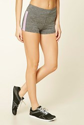 Forever 21 Active Heathered Striped Shorts Charcoal Lavender