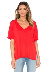 Michael Stars V Neck Hi Low Perfect Jersey Tee Red