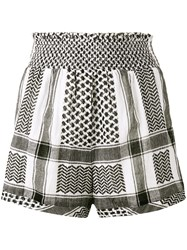 Cecilie Copenhagen Keffiyeh High Waisted Shorts Women Cotton 1 White