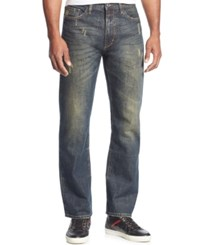 Sean John Men's Patch Pocket Hamilton Relaxed Fit Destructed Jeans Dark Stain