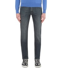 Canali Regular Fit Straight Stretch Denim Jeans Dark Blue
