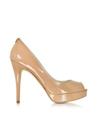 Michael Kors York Nude Patent Leather Platform Peep Toe Pump