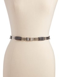 Fashion Focus Three Row Beaded Belt Silver Hematite