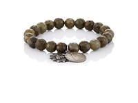 Miracle Icons Men's Beaded Charm Bracelet Dark Green
