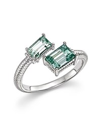 Judith Ripka Sterling Slver Lafayette Bypass Ring With Paraiba Spinel Green Silver