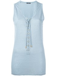 Balmain Lace Up Vest Top Blue