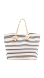 Bop Basics Canvas Beach Tote With Rope Handles French Blue Stripe