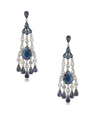 Carolee Silvertone Statement Chandelier Earrings Blue