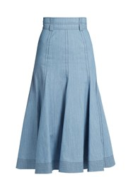 Gabriela Hearst Wytte Denim Midi Skirt Light Blue