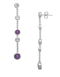 Lord And Taylor Sterling Silver Amethyst Drop Earrings With White Topaz Embellishments Amethyst Silver