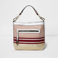River Island Womens Pink Metallic Woven Slouch Tote Bag