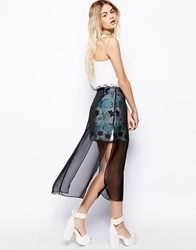 Asos Africa Lace Skirt With Sheer Layer Multi