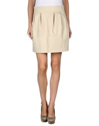 Gold Case Mini Skirts Beige